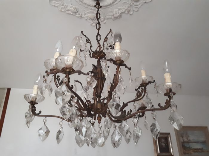 Maria Theresa style, 10-light crystal chandelier - Italy, 1950s/60s