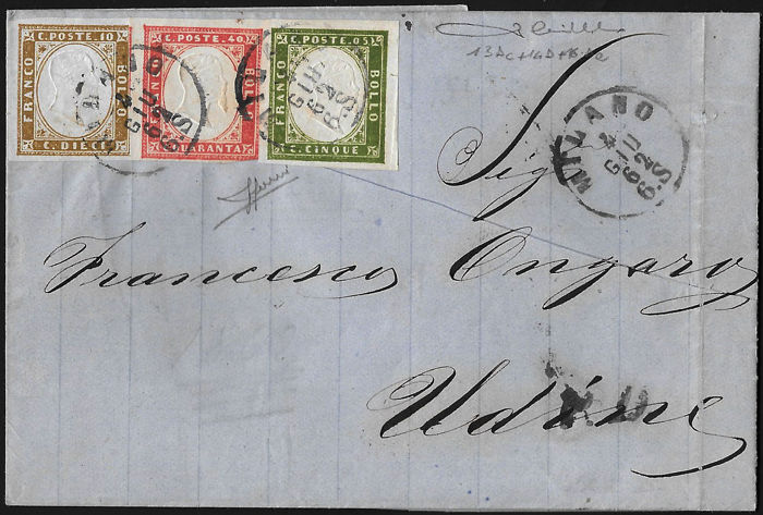 Sardinia 1855/1863 - 5 cent. olive green: 10 cent. olive bistre and 40 cent. vermilion, three-cloured franking on letter from Milan to Udine - Sass. Nos.  13Dc; 14D; 16Da