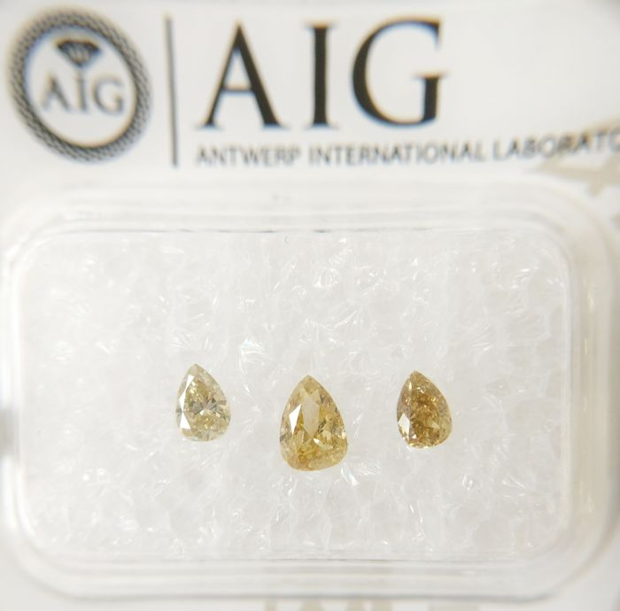 Triple of 3 Pear cut diamonds total 0.41 ct Fancy Yellow / Fancy Intense Yellow SI2-I1  *** No Reserve ***