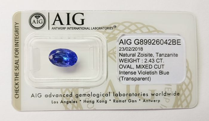 Tanzanite Intense  Violetish Blue 2.43  ct