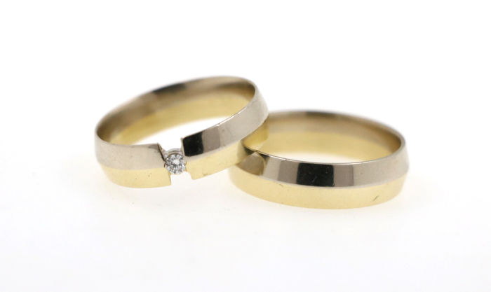 14 kt yellow-white gold wedding rings/engagement rings 11.30 g set with 1 diamond - ring sizes 61 and 63 (EU) - free size adjustment