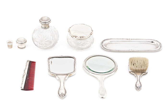 8-piece toilet set in silver and glass. ORIOL and OTHERS. Spain, mid 20th century