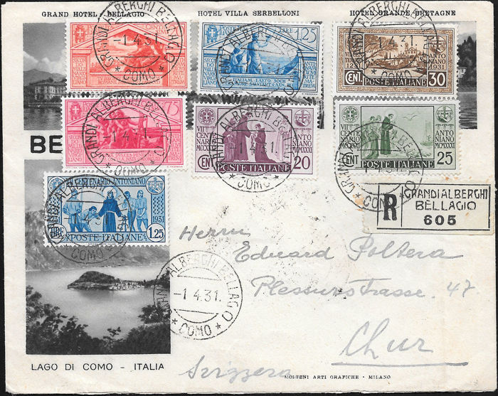 Italy, Kingdom, 1931/1943 – Lot of 4 letters franked with commemorative stamps of the period, one with twin values and all directed abroad