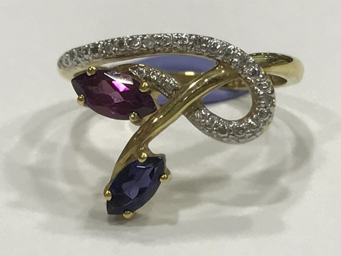 Bi-colour cocktail ring in gold 18 kt with sapphire and amethyst - Size 17 Universal (Spain)