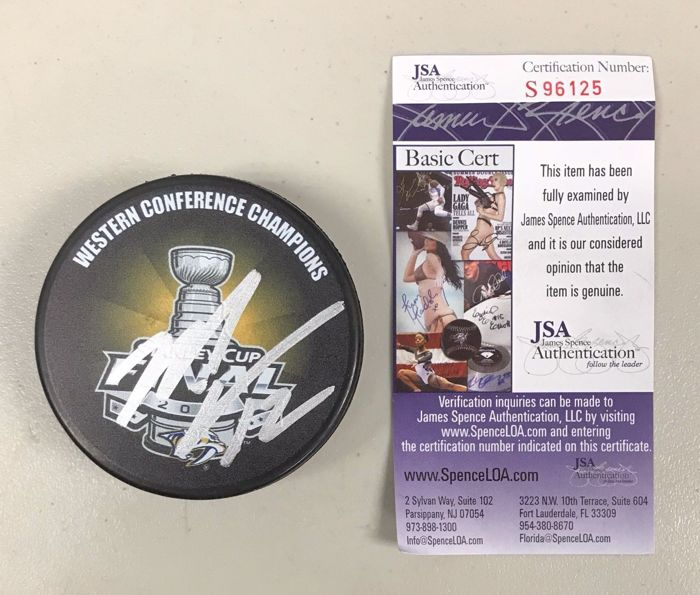 Mike Fisher Signed 2016 Stanley Cup Western Conference Hockey Puck AUTO JSA COA. No reserve price.