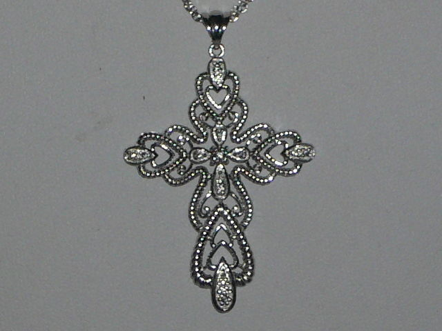 Cross - 925 silver with zirconia gemstones - on a 925 silver necklace