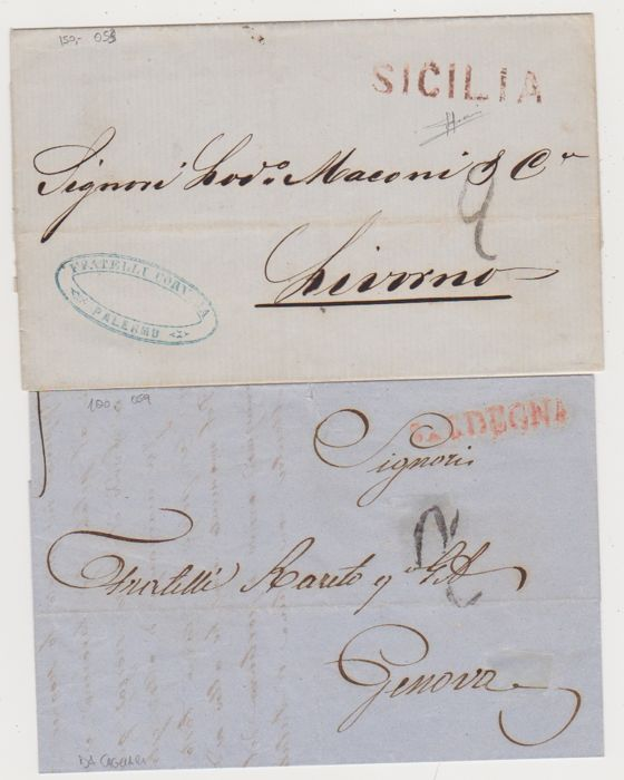 Historic States of Italy: two unstamped letters, with posmarks from Sicily and Sardinia respectively, both in red