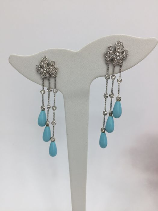 White gold earrings with turquoises and diamonds