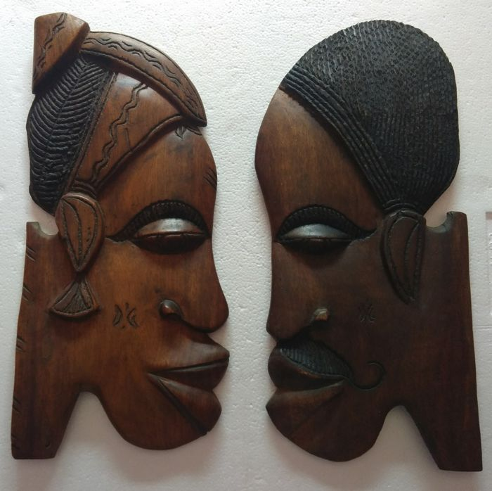 African Art - African Couple Busts in relief - Hand Crafted - Vintage
