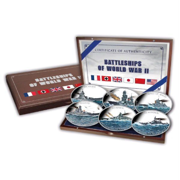 Tokelau - 6 x $1 - Battleships of World War II - 6 x 2 oz - Polished Plate & Colour - with Box & Certificate