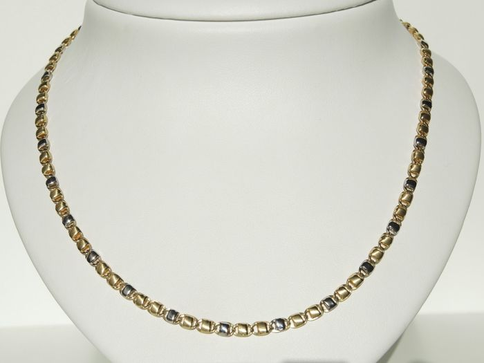 18kt white and yellow gold chain – 50 cm – 17,30 gr – made in Italy by Karisma