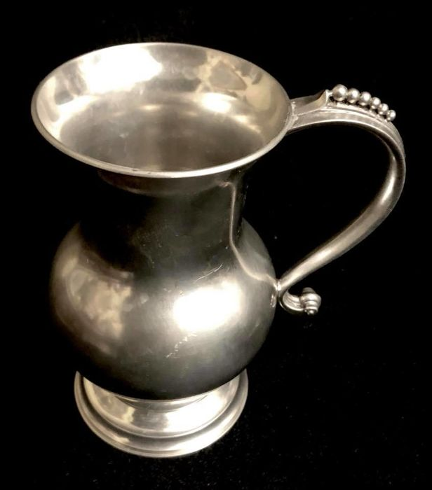 "A, vintage , french , plated pewter , Paris , elegant pitcher , with maker marks , "" Les Etains du Manoir , Paris """