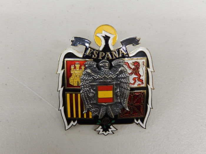Very Nice Espana Spain Shield Wings Bird Brass Car Badge Auto Emblem