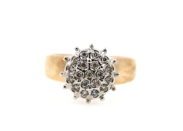 14 kt yellow and white gold women's ring with 0.50 ct diamonds - ring size 55 EU - free resizing