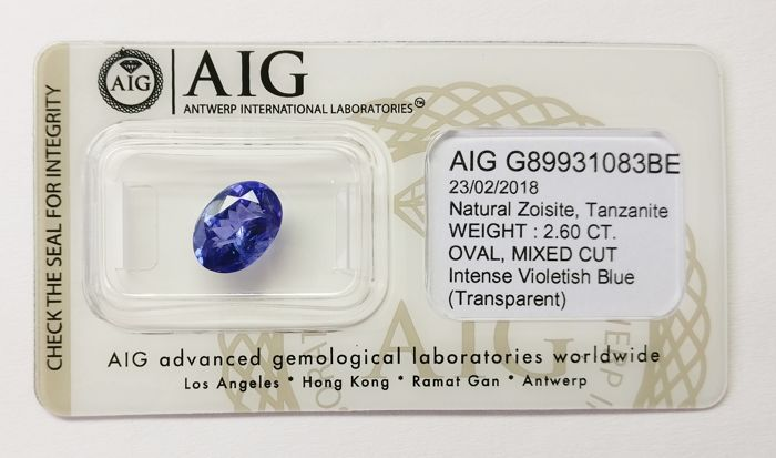 Tanzanite Intense  Violetish Blue 2.60  ct