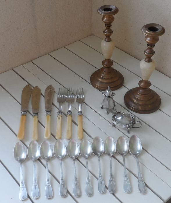 Assorted lot of Vintage Silver Plated Boulenger tea spoons, English Bone Handle Silver Ferrule Fish Forks with Knives, Condiments Pots and Brass Bronze Candle Holders