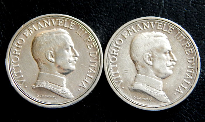 Italy - Vittorio Emanuele III - 2 Liras 1915 & 1916 - silver - Lot of 2 coins.