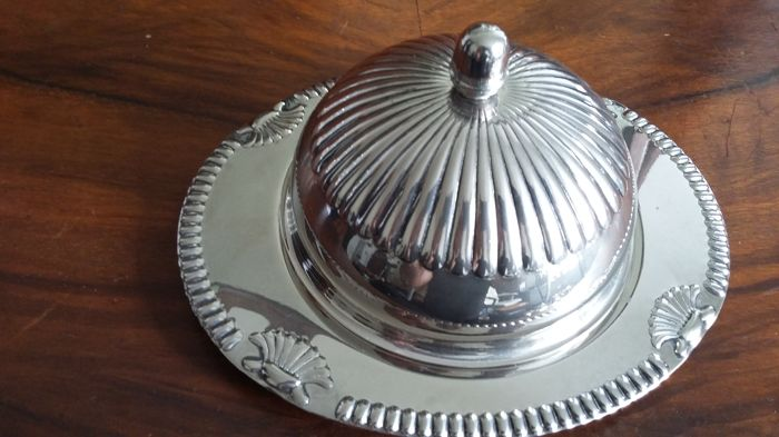 silver plated butter dish and glass made in england.