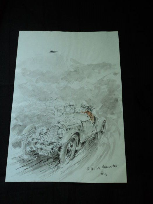 "1 original watercolour/drawing ""Bois Baronnes"" - Racing scene by Francois Chevalier"
