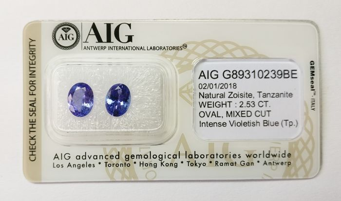 Tanzanite Intense Violetish Blue 2.53 ct