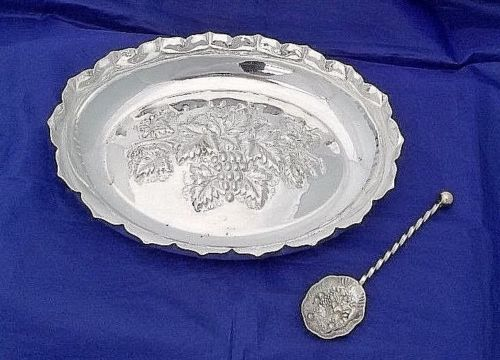 Old tray with scalloped edge and decorated spoon, by Scott & Randle of Sheffield, ca. 1925