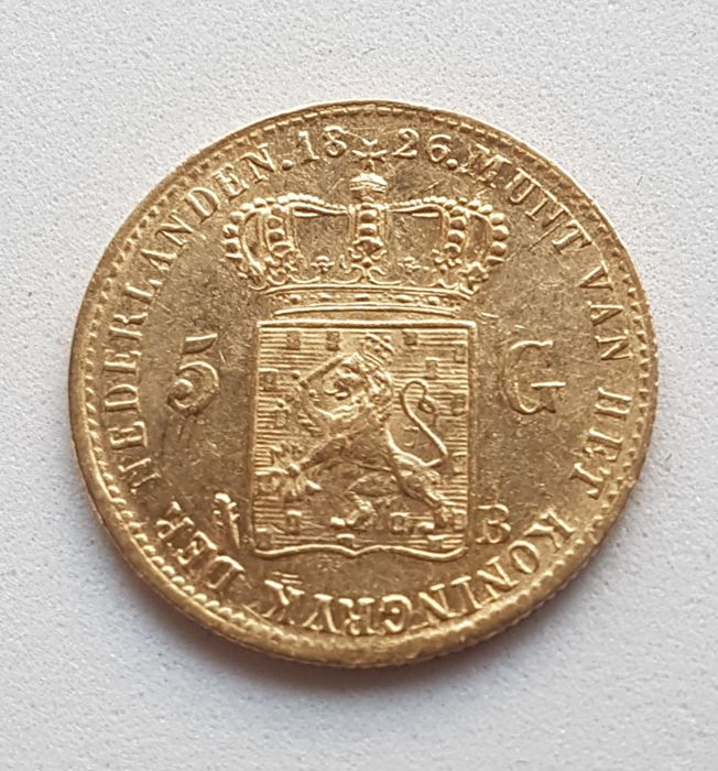 Netherlands - 5 Gulden 1826 - B Brussel - Willem I - Gold