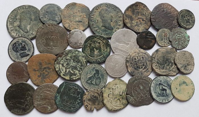 Spain - Lot of 30 Spanish coins 1500 1900 A.D. - Europe