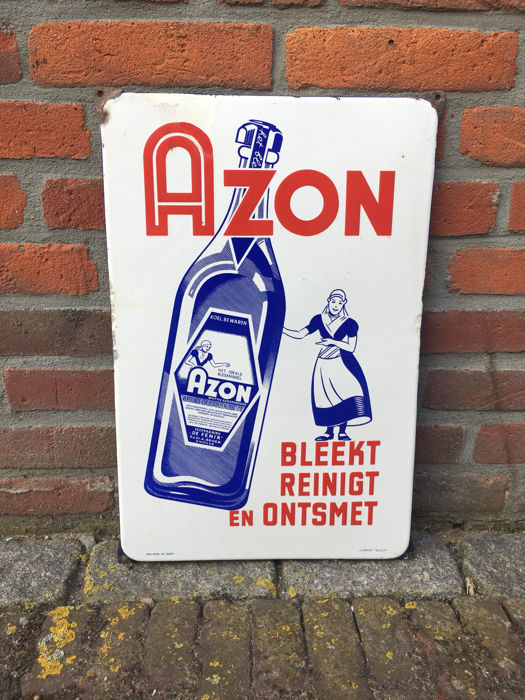 Oud emaille bord reclamebord Azon