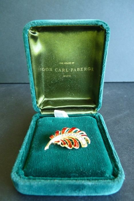 Igor Carl Faberge 'Firebird' - Brooch - 9 authentic diamonds - Solid gold 14 k - Enamel - Signed