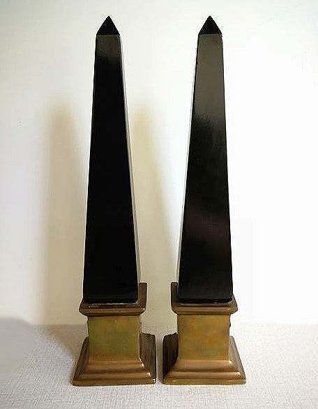 Two vintage obelisks - brass base with black lacquered wooden wooden point, 1970s