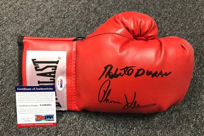 Roberto Duran & Thomas Hearns Signed Boxing Everlast Glove AUTO PSA COA Autographed HOF USA Hand signed by Legends. No Reserve Price!
