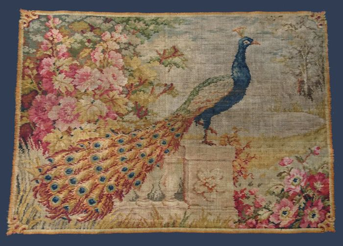 Tapestry, peacock in a landscape