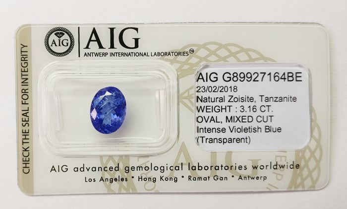 Tanzanite Intense  Violetish Blue 3.16  ct