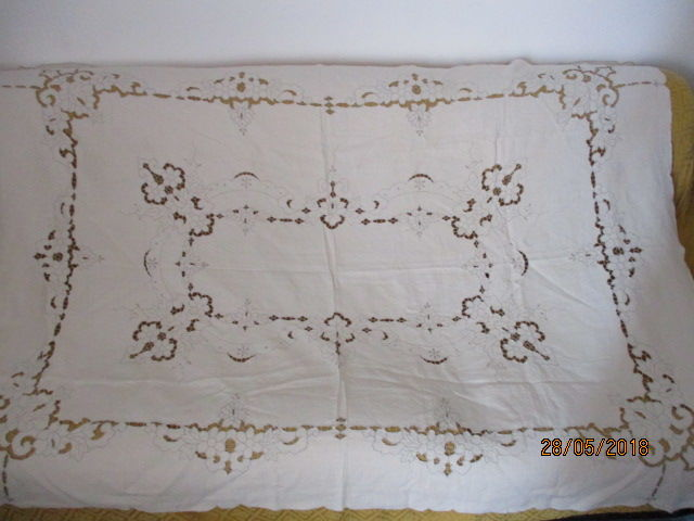 Rare hand embroidered linen tablecloth