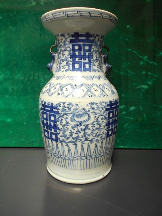 Antique Chinese Blue And White Vase China Late 19th Century