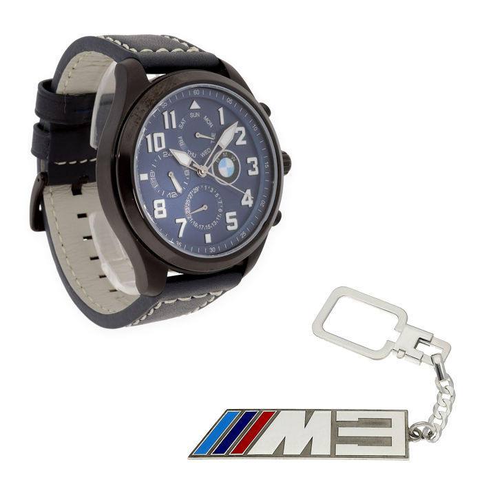 Lot of S&S men's watch for BMW + Sterling silver key ring with an M3 motif