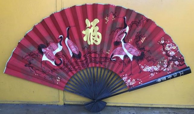 Beautiful large fan with herons and calligraphy - first half of the 20th century - 160 cm