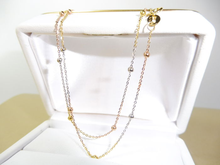 18kt Yellow-White-Rose Gold Necklace With Gold Balls- Length: 45 cm