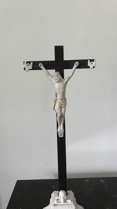 Antique Christ in cross, porcelain and biscuit