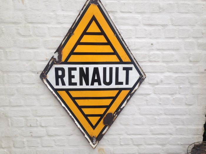 EMAILLE RECLAMEBORD  RENAULT 1950