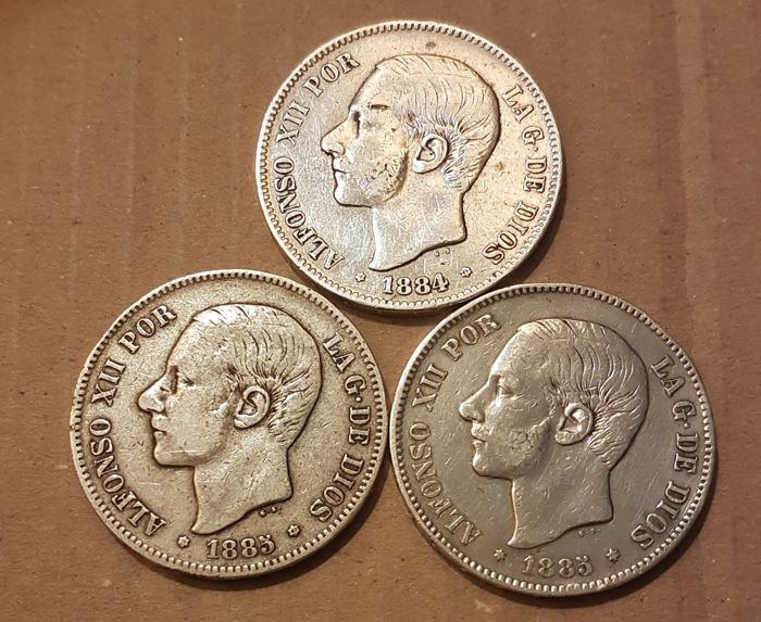 Spain - Lot: 3 coins of 5 Pesetas Alfonso XII 1884 *84 & 1885 *85 and 1885 *87 Assayer MSM - Silver
