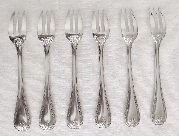 6 silver plated metal dessert forks, Christofle, Malmaison model (Empire style)