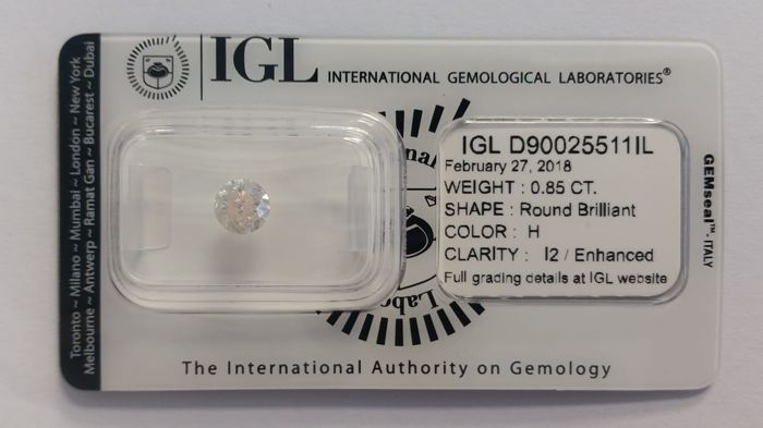 0.85 ct Natural Diamonds  H   I2/Enhanced  IGL Lab report -NO RESERVE