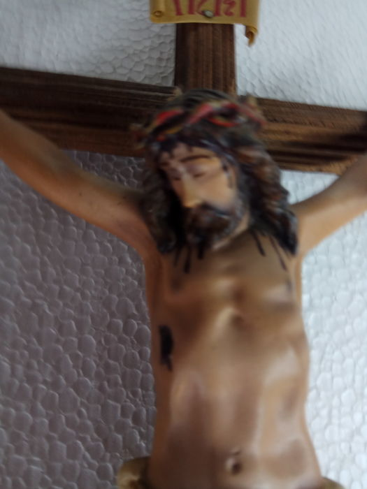Old Christ in plaster on a wooden cross, 50s