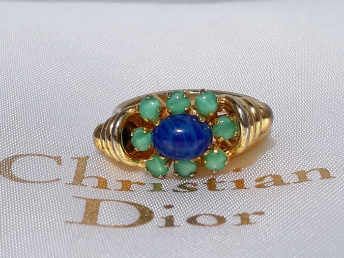 Christian Dior - Crystal emerald and sapphire blue cabochon 1972 - Vintage