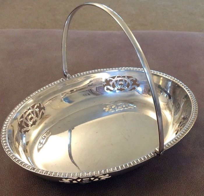 Silver plated basket with handle and an openwork