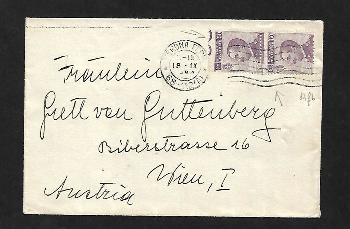 Kingdom, letter for Austria with 50 cent pair of stamps.