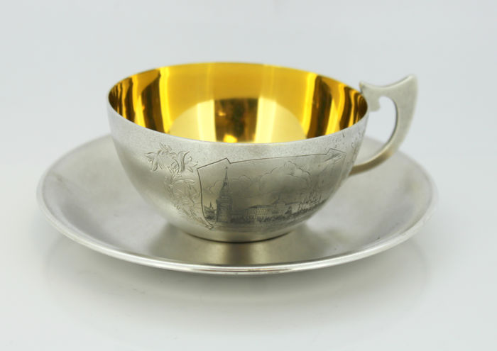 Antique Russian silver and niello tea cup and plate, Mid 20th Century
