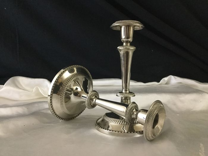 Pair of silver plated candlesticks, France, 20th century