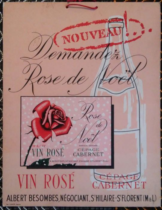 "Very rare cardboard advertising, Vin Rosé ""Rose de Noël"" Cépage Cabernet"